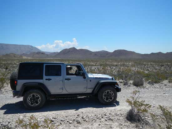 The Jeep with the Roof off on Old Ore Road in Big Bend National Park