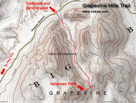 Grapevine Hills Trail Topo Map