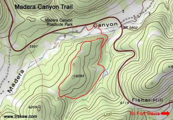 Madera Canyon Trail Topo