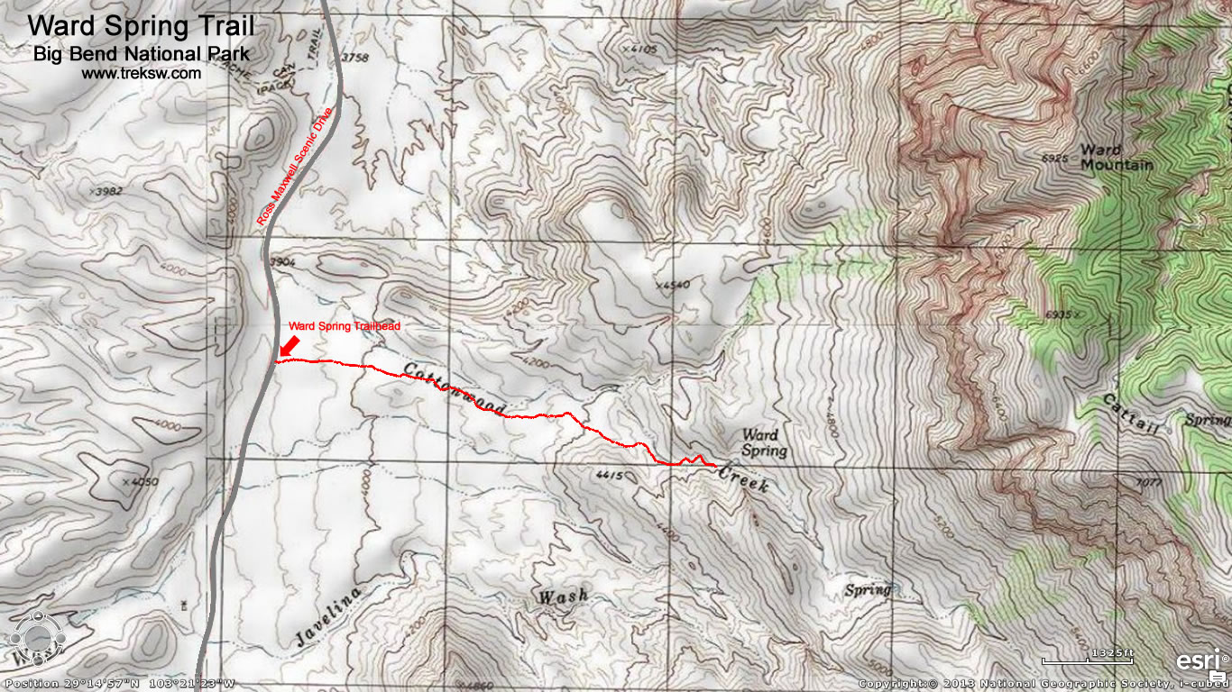 click here for a larger topographic map. ward spring trail  big bend national park  trek southwest