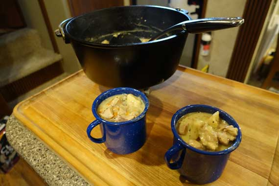 Chicken and Dumplings in Coffee Mugs