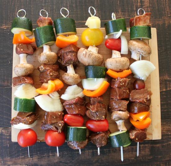 Assembled kebabs