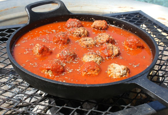 Meatballs and Sauce on Fire