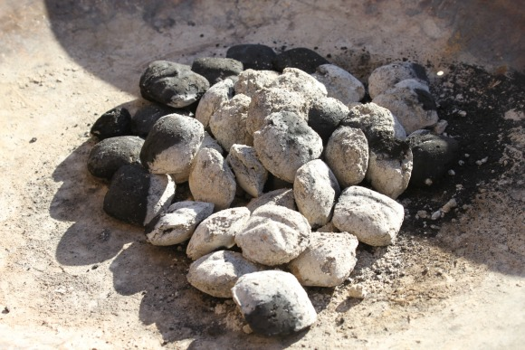 White hot charcoal briquettes