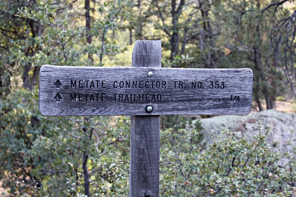 Granite Basin Recreation Area - Metate Trailhead Sign