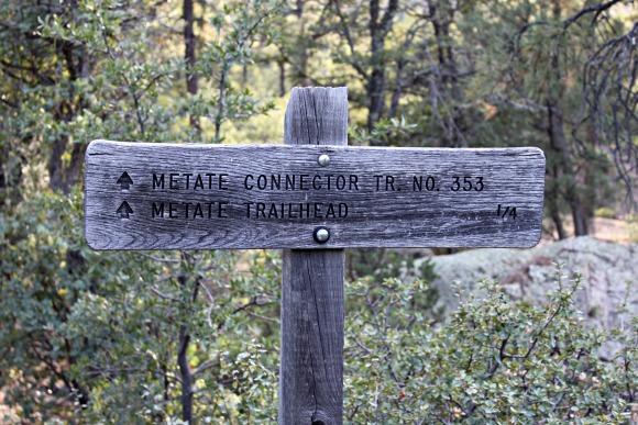 Granite Basin Recreation Area - Metate Trailhead Sign