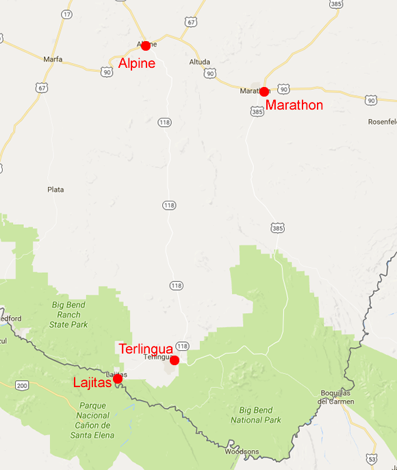 Towns near Big Bend National Park