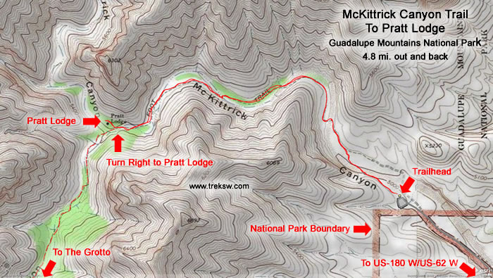 McKittrick Canyon Trail to Pratt Lodge - Topographic Map Small